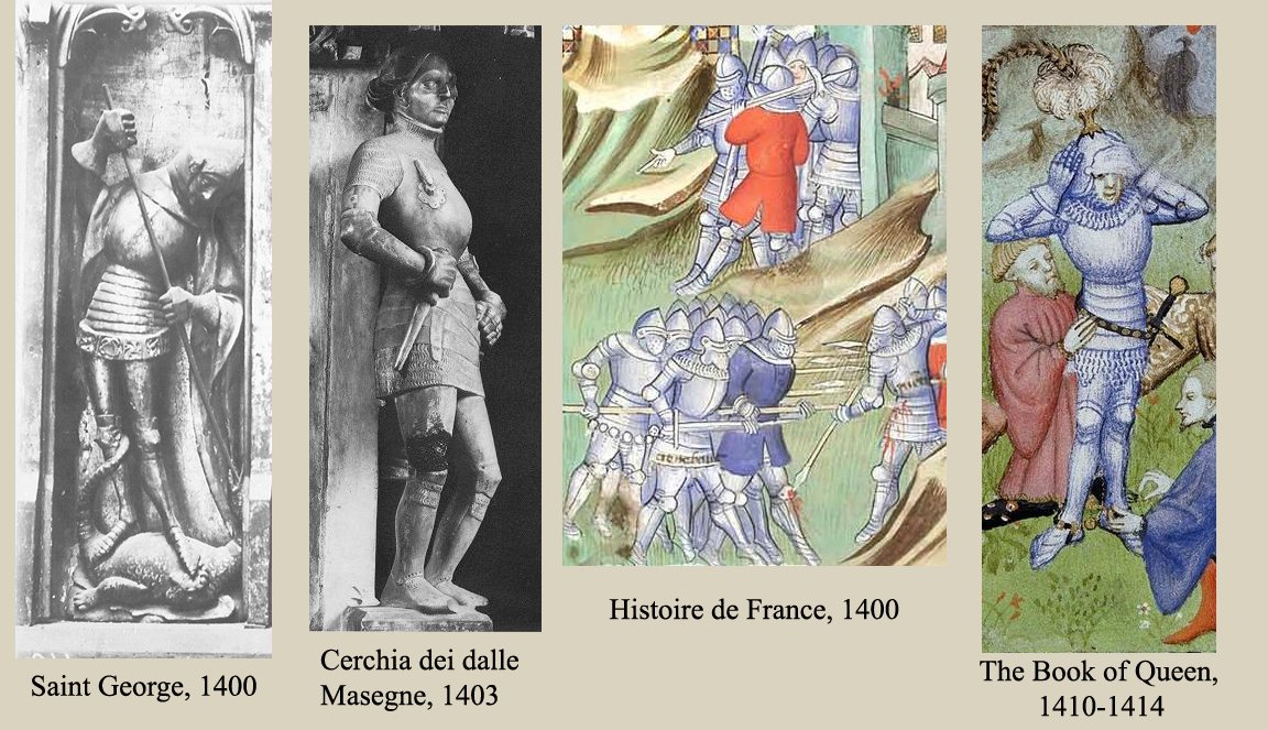 Saint George 1400; Cerchia dei dalle Masegne 1403; Historie de France 1400; The book of queen 1410-1414
